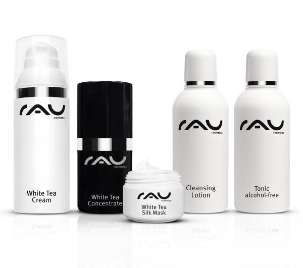 RAU Cosmetics Pflege-Set für trockene Haut: White Tea Produkte & Reinigung